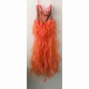Tangerine Dress with Ruffle Skirt size 4